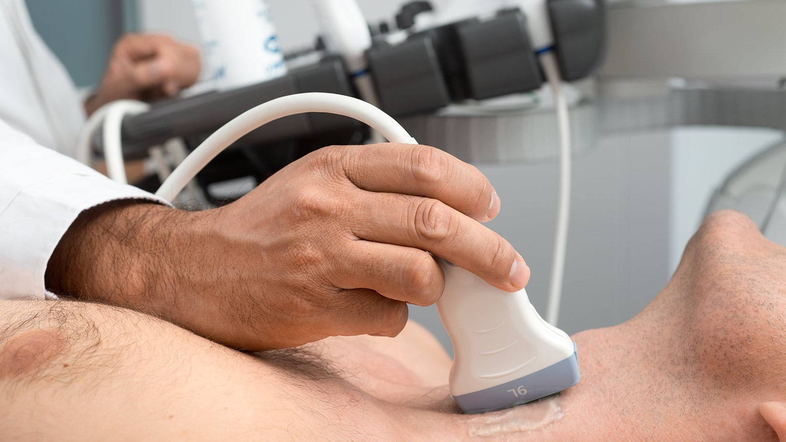 Ultraschalluntersuchung Halsschlagader Kardiologie Close-Up Patient